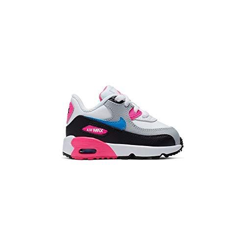 Nike Baby Mädchen AIR MAX 90 LTR (TD) Sneaker, Mehrfarbig (White/Photo Blue-Black-Pink Blast 107), 21 EU (Air Max Blue Baby)