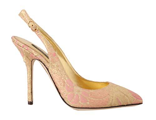 Dolce & Gabbana - Damen Schuhe - Pumps Gold Pink Brocade Slingbacks Heels Size: 39