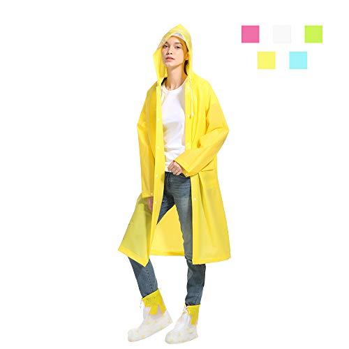 HanDingSM Regenponcho Regenbekleidung Regenmantel mit Kapuze Wiederverwendbar Wasserdicht Tragbarer Transparent Atmungsaktiv Regencape für Radfahren,Camping,Reiten,Wandern und Angeln (Gelb, M)
