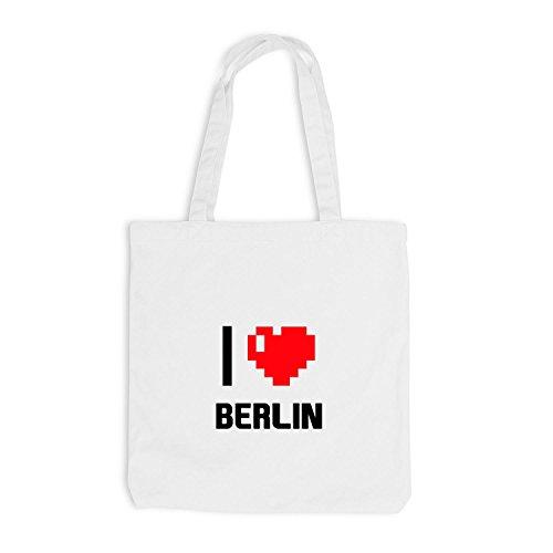 Jutebeutel - I Love Berlin - Deutschland Reisen Herz Heart Pixel Weiß