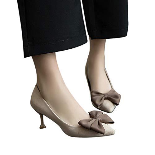 Mymyguoe Retro Spitz Zeh Pumps Damen Frauen Einzelne Schuh mit Pfennigabsatz Schleife Schnalle Abend Sandaletten Stiletto Slip-On Loafer Party Schuhe Sommer Hochzeit Kleid Schuhe Outdoor -
