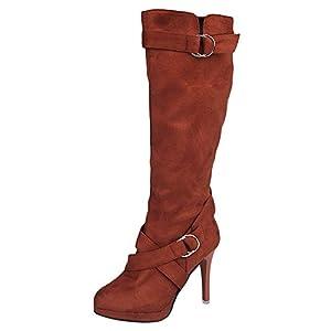 saymany Damen Schuhe Schnallen Römische Platform High Heels Kniestiefel Long Boots