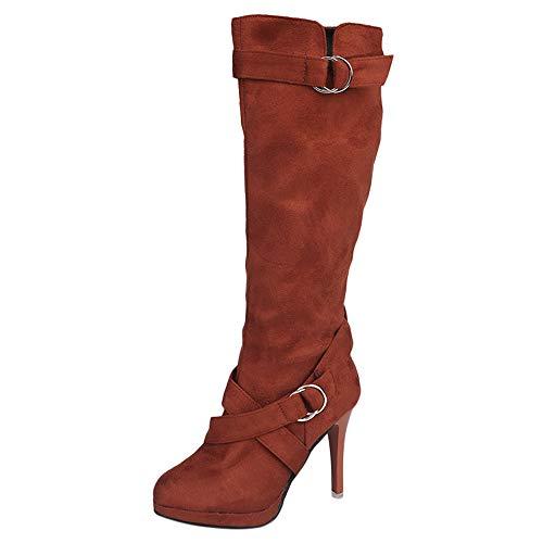 Stiefel Damen Sunnyadrain lässig Vliese Rutsch-auf Kniehohe Schnallen-Plattform High Heel Herbst Winter Schuhe Wedges High Heel Stiefeletten für Frauen