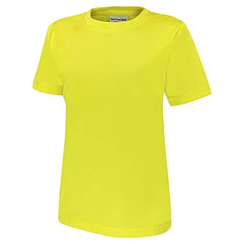 Alps to Ocean Sports Kinder Sportshirt Funktions T-Shirt Teamsport (schnelltrocknend, atmungsaktiv), Größe:164, Farbe:Yellow -