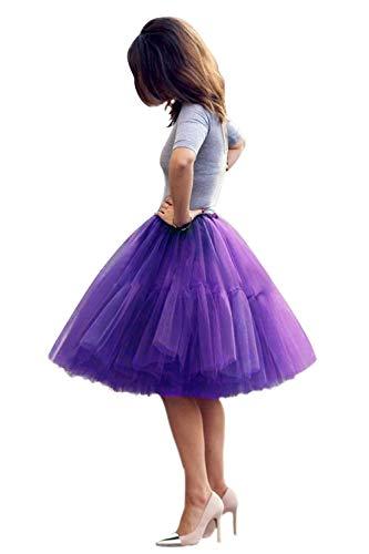 Tüllrock Damen Tutu Skirt 5 Lage Petticoat Ballettrock Unterrock Pettiskirt Dunkel Lila (Rock Lila Halloween-kostüm)
