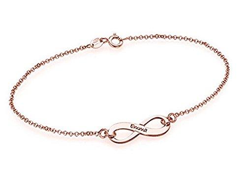 Hacool 925 Sterling Silber Gravierte Infinity Fußkettchen Charme & Armband nach Maß mit allen Namen (Rosegold) (Pinguin Fußkettchen)