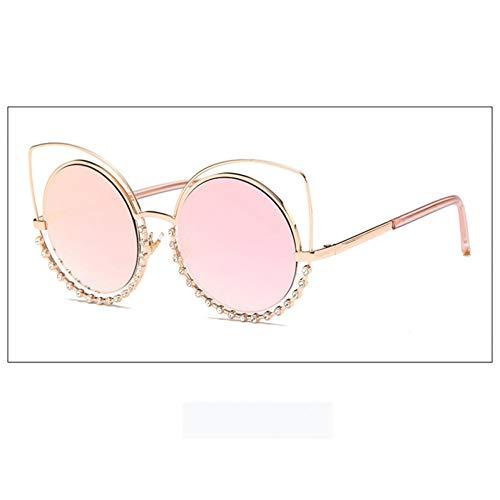 SYQA Sonnenbrille Mode Cat Eye Sonnenbrille Frauen Beschichtung Reflektierende Spiegel Diamant Dekoration Gläser Weibliche Shades Uv400 New,C3