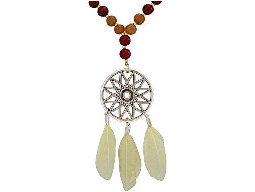 Gemshine Handmade - Halskette - Traumfänger - Gold - Boho - Feder - Terra - Creme - 80 cm