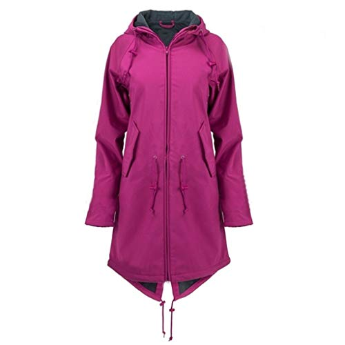 Rikay New Tops Clothes Womens Solid Rain Jacket Coats for Ladies Outdoor Plus Waterproof Windproof Raincoat Size 10-24 Purple
