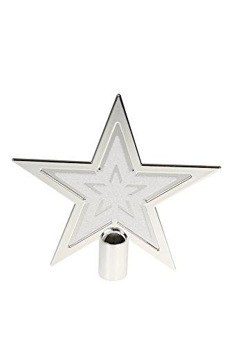 Clever Creations - Weihnachtsbaumspitze in Sternform - Festliche Weihnachtsdeko - bruchsicherer Kunststoff - für Weihnachtsbäume jeder Größe - Silberfarben & Weiß - 16,5 cm (Weihnachtsbaum Weißen Großen)