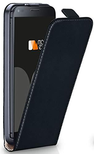 moex® Flip Case mit Magnetverschluss [Rundum-Schutz] passend für LG Google Nexus 4 | 360° Handycover aus feinem Premium Kunst-Leder, Schwarz