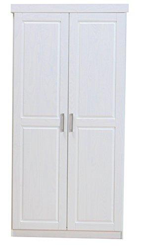 2-trg. Kleiderschrank HAKON Schlafzimmerschrank Flügeltürenschrank Massiv weiß