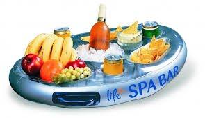 Spa Bar aufblasbarer Whirlpool Tisch für Getränke und Snacks im Hottub Außenpool Schwimmbad Getränkehalter