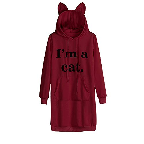 Hood Long Damen MYMYG Cat Ear Solid Langarm -