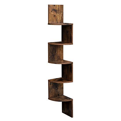 VASAGLE Eckregal mit 5 Ebenen für die Wand, Holzregal, für Küche, Schlafzimmer, Wohnzimmer, Lernzimmer, Büro, Vintage, Dunkelbraun LBC20BX