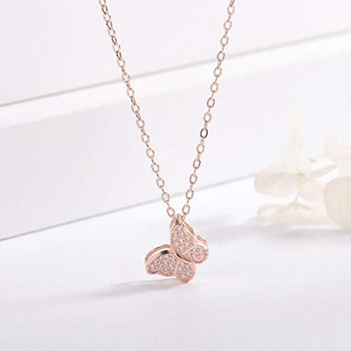 XIANGLIANDIAN Damenhalskette S925 Sterling Silber Schmetterling Halskette Weiblichen Kurzen Abschnitt Mikro-Verkrusteten Schlüsselbein Kette Nische Marke Halskette