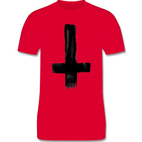 Symbole - Umgedrehtes Kreuz Vintage - Herren Premium T-Shirt Rot