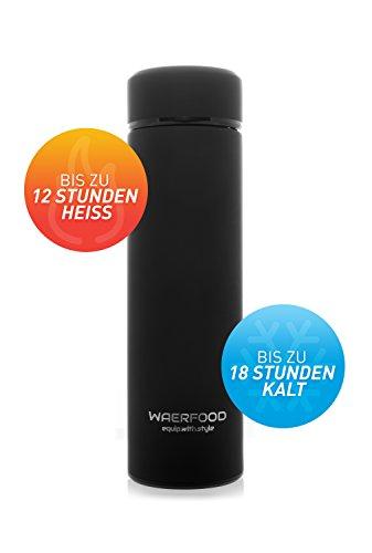 Thermoskanne WAERFOOD | Isolierkanne 500ml – BPA, BPS Frei | Edelstahl Thermosflasche Tee, Kaffee | Isolierflasche | Inklusive Teesieb | Trinkflasche Fitness, Yoga, Fahrrad - 3