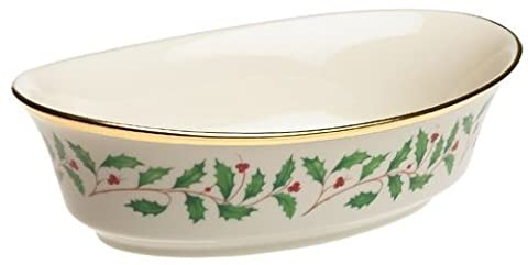 Lenox Holiday Gold-Banded Fine China Large Open Vegetable Bowl by Lenox