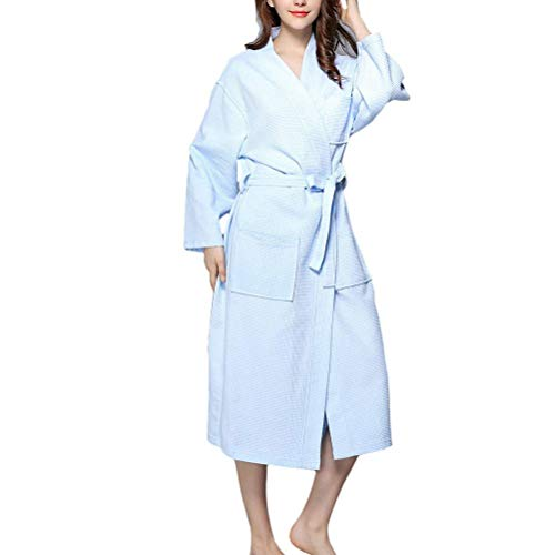 Saoye Fashion Women's Luxury Waffle Robes Dressing Gowns Housecoat Unisex Kleidung Quality Cotton Nightwear Loungewear Bademantel (Color : Sky Blue, Size : L)