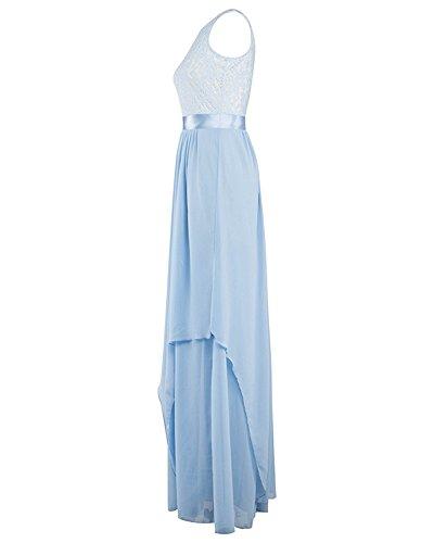Damen Elegant Ärmellos Cocktailkleid Chiffon Runder Kragen Abendkleider Maxikleid Licht Blau