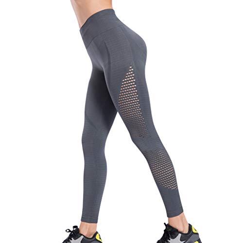 MONDHAUS FIT Damen High Waist Sporthose Blinkdicht Sport Leggings Elastische Tummy Control Yogahose Lange Yoga Hose Sporthose Fitnesshose,grau,L Control-fit-jeans