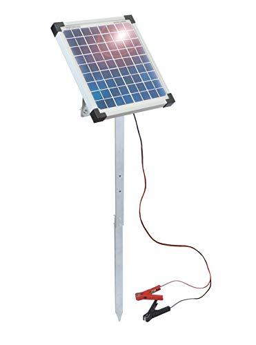Eider 10 Watt Solarerweiterung für 12 Volt Weidezaungeräte mit Metallstab - verlängert die Laufzeit von 12 Volt Akku Geräten - 10 Watt Solar Modul mit Hohem Wirkungsgrad