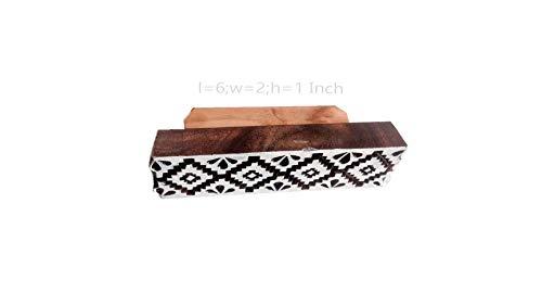 Fancy Handicraft Wooden Printing Stamps and Blocks for Textile Print,Butique Print,Saree Salwar Suit Dupatta Border Making,Heena Print,Scrapbook Printing (6 * 2 inch Approx) (PBS1142)