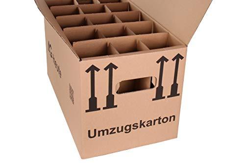 15 Gläserkartons Flaschenkartons Umzugskartons Geschirrkarton 2-Wellig 15 Fächer von A&G-heute - 4