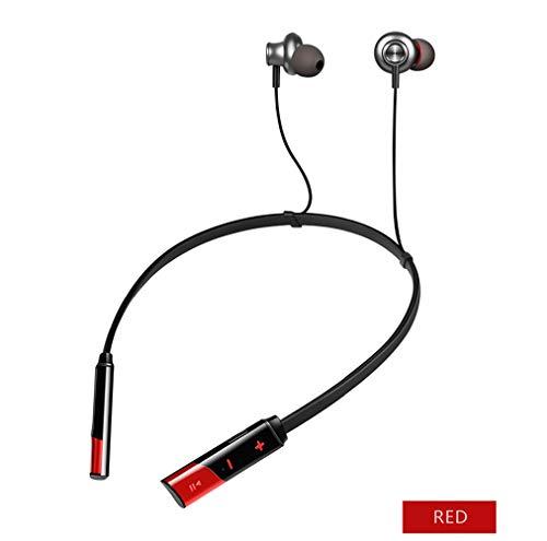J.W. Drahtlose Ohrhörer Wasserdicht IP67, Bluetooth Binaural Auricular Mit Mikrofon, 3D-Geräuschminderung Ohrstöpsel USB-Aufladung Für Alle Smartphones (Rot, Schwarz),Red