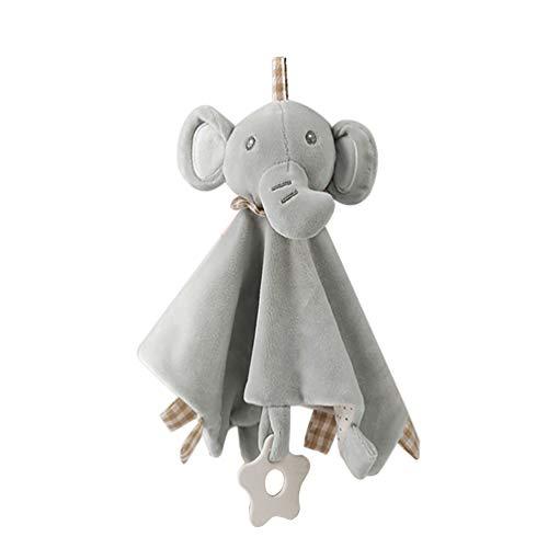 TIMLand Sicherheitstuch Beruhigende Spielzeug, Mehrzweck Kleinkind Weichem Plüsch Kinderkrankheiten Tuch Schlaf Freund Puppe Spielzeug - Elefant - Beruhigende Satz