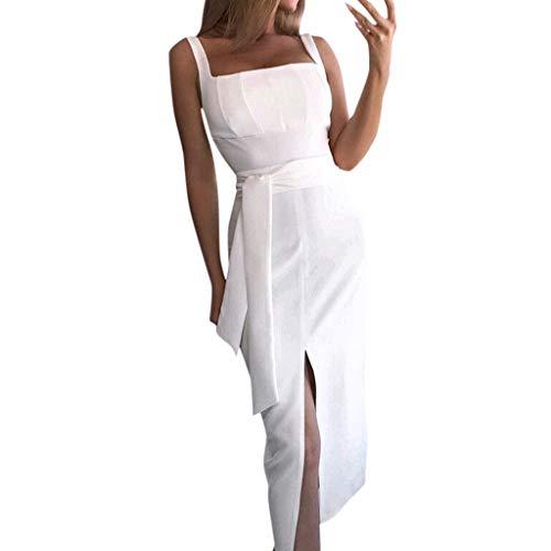 Sommerkleid Damen Schlinge ein Wort Kragen ärmellose Riemen Gürtel Taille Saum Seite Großen Schlitz Kleid - Drucken Seite Schlitz Rock
