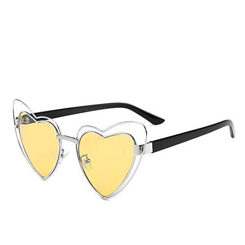 Yiph-Sunglass Sonnenbrillen Mode Herz-Form-Metallvollbild-Sonnenbrille für Frauen-Mann-UVschutz für das Fahren von Ferien. (Farbe : Gelb)