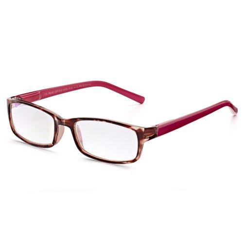Read Optics Lesebrille: Lesehilfe für Damen mit rechteckigem Vollrahmen aus leichtem Polykarbonat in Himbeer-Pink Schildpatt und Bonbonrosa. Kratzfeste, blendfreie Gläser mit UV-Schutz in Stärke +1,5