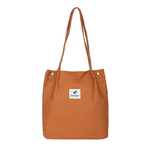 Canvas Tasche Damen Canvas Umhängetasche Shopper Casual Handtasche groß Chic Schulrucksack für Alltag Büro Schulausflug Einkauf, 38 x 32 x 11cm Khaki