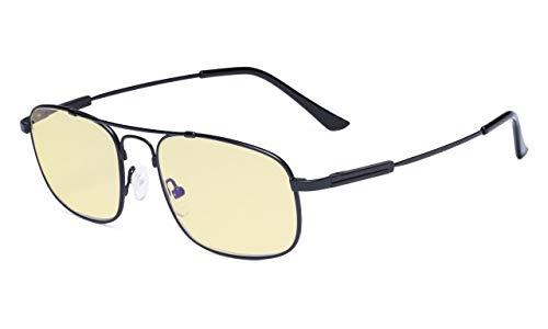 Eyekepper Blaulicht Brille Damen und Herren-Computer Brillen-Memory Titan Fassung Federscharniere Doppelbrücke Schwarz+0.50