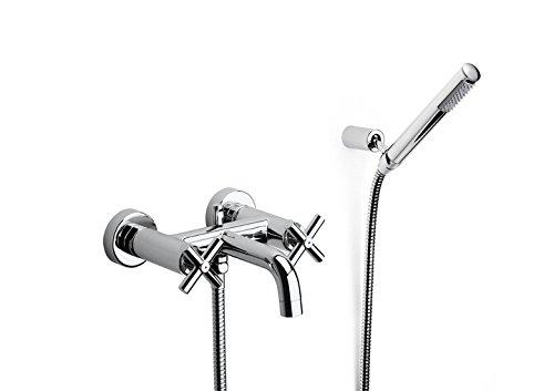 Roca A5A0143C00 – Mezclador bimando exterior para baño-ducha con inversor automático, ducha de mano, flexible de 1,75 m. y soporte articulado