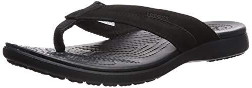 crocs Herren Santa Cruz Leather Flip M Dusch- & Badeschuhe, Schwarz Black 060b, 42/43 EU
