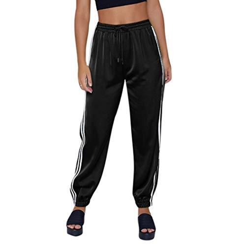 beautyjourney Pantalones deportivos de moda, Pantalones cortos de fitness para mujer Pantalones para correr Pantalones elásticos de longitud de tobillo Pantalón casual suelto con cordón