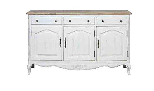 Credenza bianca tre cassetti in legno con rifiniture color legno L'ARTE DI NACCHI in stile vintage YY-14