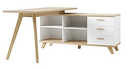 Germania 4058-221 Schreibtisch mit integriertem Sideboard im  skandinavischen Design GW-Oslo in Weiß/Absetzungen  Sanremo-Eiche-Nachbildung, 144 x 75 x ...