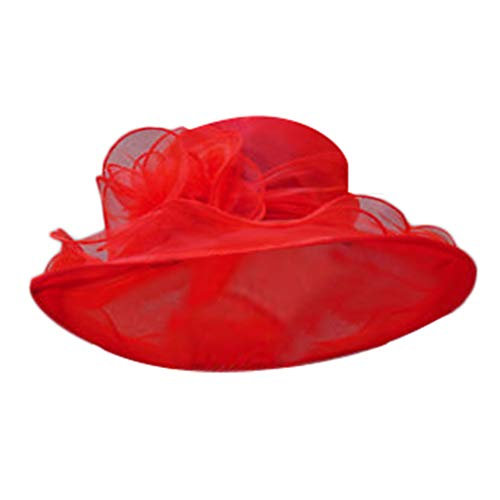 Dorical Damenhut 9 Farben Sommer Hut Sonnenschutz Sonnenhüte Organza Fascinator Hut Kappen Bowler Hut Faltbare mit Blumen Wide Brim Ideal für Strand Kirche Party Hochzeit Ausverkauf(Rot)