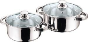 Kitchen Essentials Stainless Steel 2 Pieces Cook and Serve Set/Dutch Oven with Glass Lid