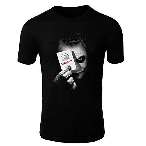 Seat Joker 1 Camiseta Hombre Coche Clipart Car Auto tee Top Negro Mangas Cortas largas Presente (S, Negro - Corto)