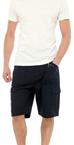 Reißverschluss Seitliche Gürtel Der (Mens/Gentlemens schlicht lässig Sommeraktion Shorts mit seitlichen Taschen, dunkelblau XXL)