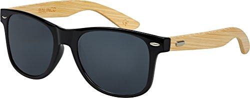 Hochwertige Bambus Holz Nerd Sonnenbrille Rubber im Wayfarer Stil Retro Vintage Unisex Brille mit Federscharnier - 9 verschiedene Farben/Modelle wählbar (Bambus - Smoke)