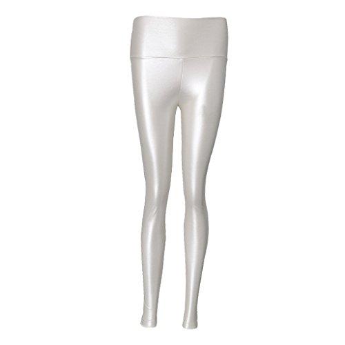 Homyl Damen Kunstleder Leder Wetlook Leggings Hose Strumpfhosen Treggins metallische Leggins Schwarz/Weiß /Gold - Weiß, S