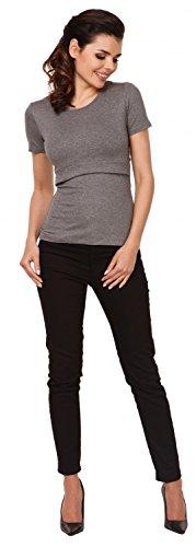 Zeta Ville - Damen Zweilagiges Still T-shirt Rundhalsausschnitt - Kurzarm - 991c Grau Melange