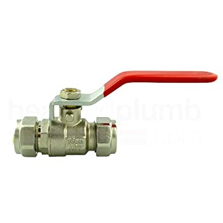 Lever Ball Valve 15mm Compression Red handle (FOR HOT WATER ONLY) by Advantay