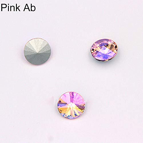 ms, 50 Stück, Farbe AB, Glas, lose Perlen, DIY 14 mm, spitzer Rückseite, Strasssteine, glas, Rosa AB, Einheitsgröße ()